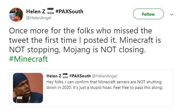 Minecraft shutting down news tweet 2