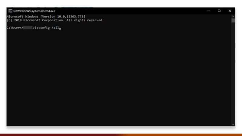 Find mac address using cmd