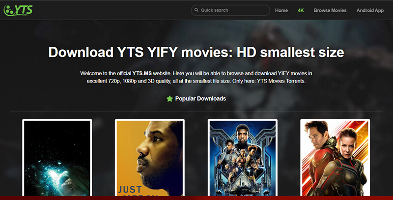 YTS - Best torrent for hollywood movies